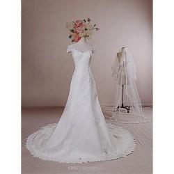 A Line Wedding Dress Ivory Chapel Train V Neck Lace Satin Tulle