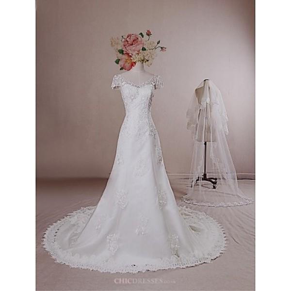 A-line Wedding Dress - Ivory Chapel Train V-neck Lace / Satin / Tulle Wedding Dresses