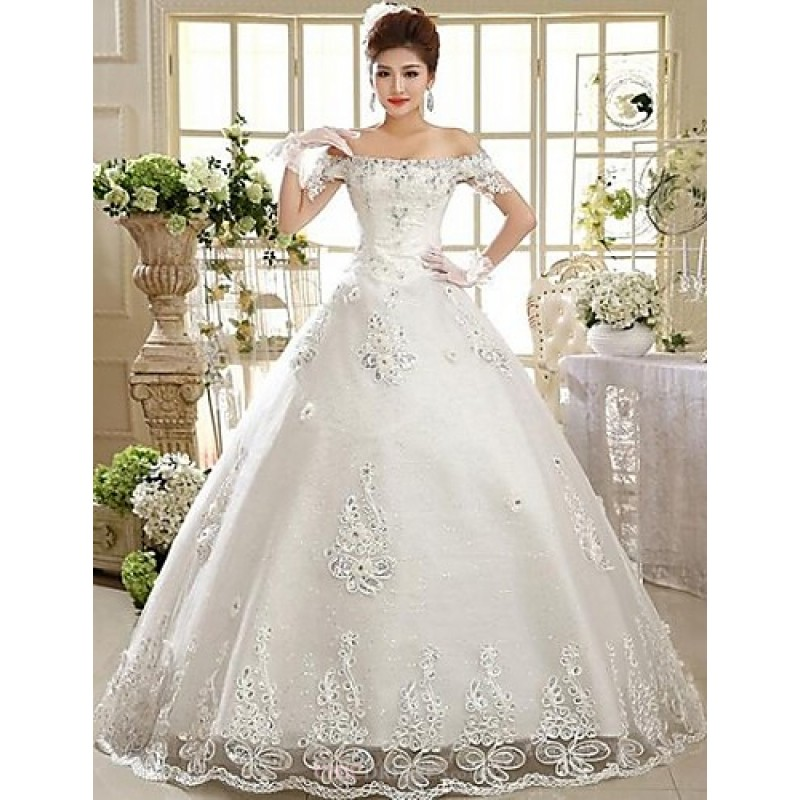 Ball Gown Floor Length Wedding Dress Off The Shoulder Lace