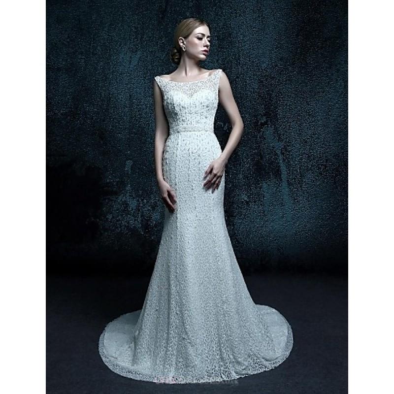 Sheath/Column Sweep/Brush Train Wedding Dress - Scoop Lace,Cheap Uk ...