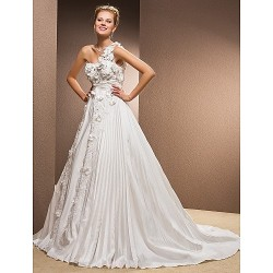 A-line Plus Sizes Wedding Dress - Ivory Chapel Train One Shoulder Taffeta