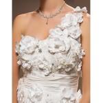 A-line Plus Sizes Wedding Dress - Ivory Chapel Train One Shoulder Taffeta Wedding Dresses