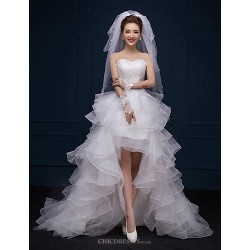 A Line Asymmetrical Wedding Dress Sweetheart Lace