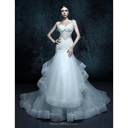 Trumpet Mermaid Court Train Wedding Dress Straps Tulle