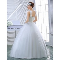 Ball Gown Wedding Dress White Floor Length Scoop Organza