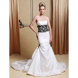Trumpet Mermaid Wedding Dress Ivory Chapel Train Strapless Taffeta