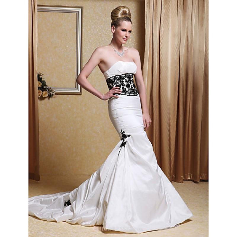 Trumpet mermaid wedding dress ivory chapel train for Ivory trumpet wedding dress