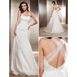 Trumpet/Mermaid Plus Sizes Wedding Dress - Ivory Chapel Train Square Lace
