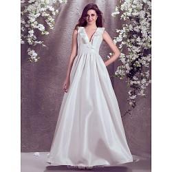 A-line Plus Sizes Wedding Dress - Ivory Floor-length V-neck Taffeta