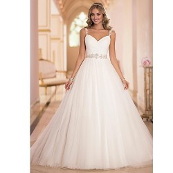 A Line Sweep Brush Train Wedding Dress Straps Tulle