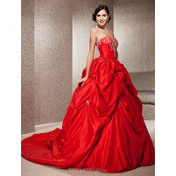 Ball Gown Plus Sizes Wedding Dress Ruby (color May Vary By Monitor) Chapel Train Strapless Taffeta