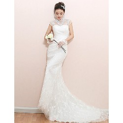 Trumpet/Mermaid Wedding Dress - White Court Train High Neck Lace