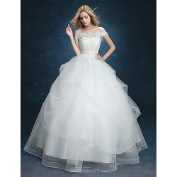 Ball Gown Wedding Dress White Floor Length Off The Shoulder Lace