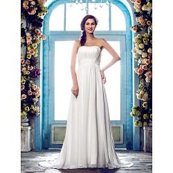 Sheath Column Plus Sizes Wedding Dress Ivory Sweep Brush Train Strapless Chiffon
