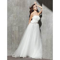 A Line Wedding Dress Ivory Sweep Brush Train Strapless Tulle