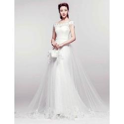 Trumpet Mermaid Court Train Wedding Dress Bateau Lace