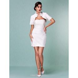 Sheath Column Plus Sizes Wedding Dress Ivory Short Mini Strapless Satin
