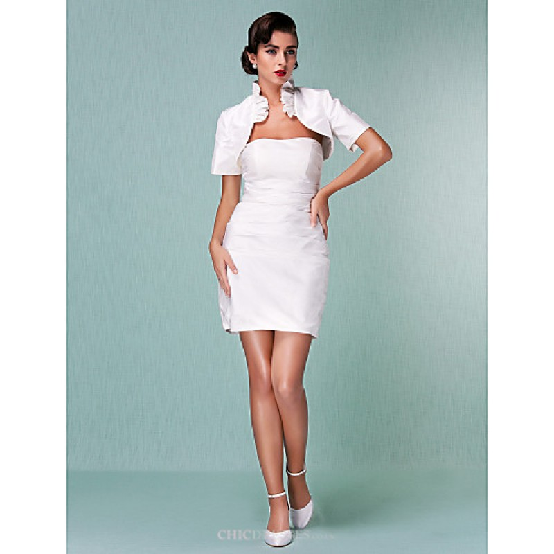 Sheath/Column Plus Sizes Wedding Dress - Ivory Short/Mini Strapless ...