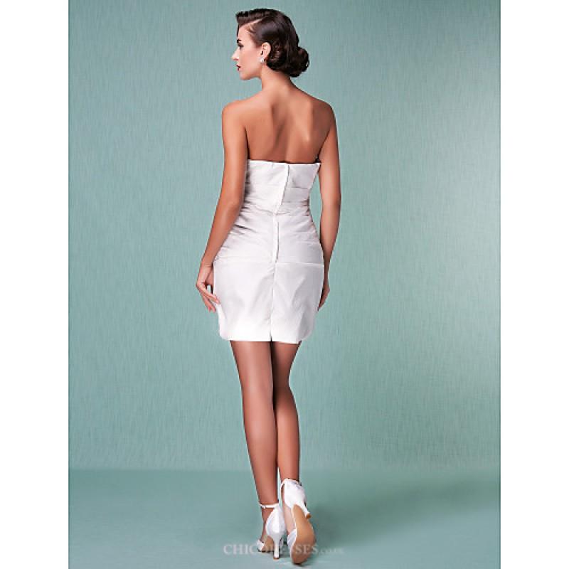 Sheath/Column Plus Sizes Wedding Dress - Ivory Short/Mini Strapless ...