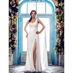 Sheath Column Plus Sizes Wedding Dress Ivory Sweep Brush Train One Shoulder Chiffon