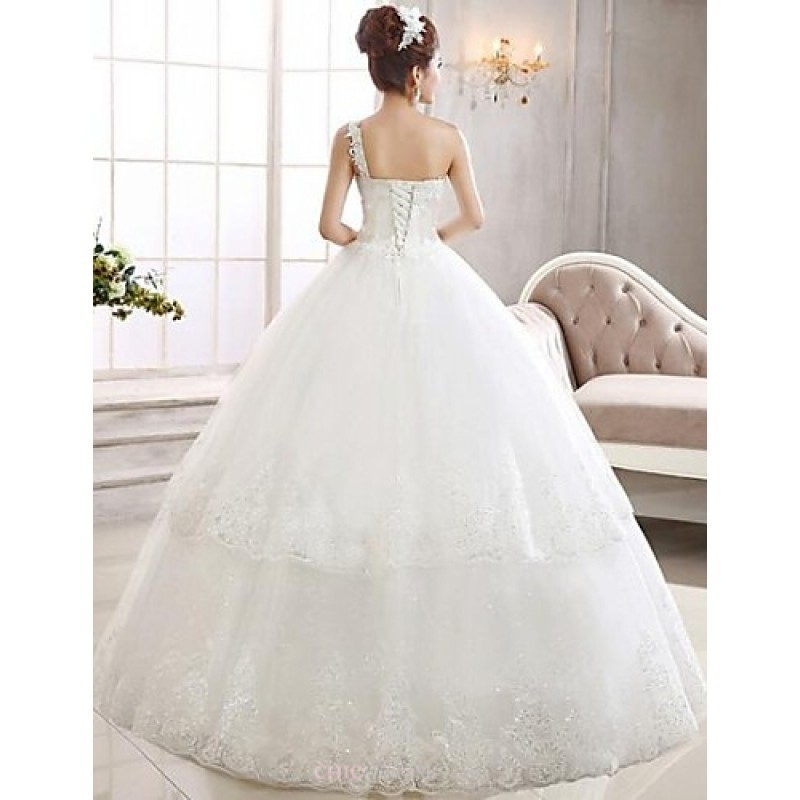 Simple Ankle Length Lace Wedding Dresses White Three: Ball Gown Ankle-length Wedding Dress -One Shoulder Lace