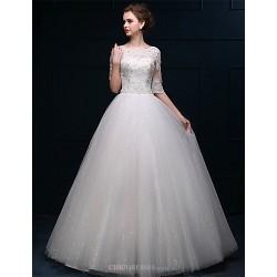 A Line Floor Length Wedding Dress Bateau Tulle