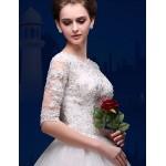 A-line Floor-length Wedding Dress -Bateau Tulle Wedding Dresses