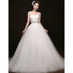 A Line Court Train Wedding Dress Straps Tulle