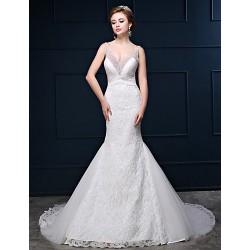 Trumpet Mermaid Wedding Dress White Court Train V Neck Lace Tulle Charmeuse