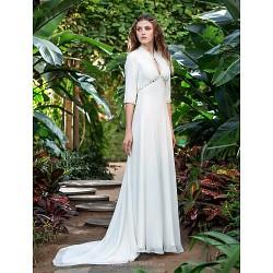 Sheath/Column Plus Sizes Wedding Dress - Ivory Court Train V-neck Georgette