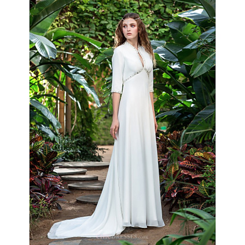 Sheath/Column Plus Sizes Wedding Dress - Ivory Court Train V-neck ...