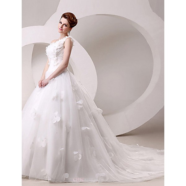 Ball Gown Wedding Dress Sweep/Brush Train/Floor-length One Shoulder Wedding Dresses
