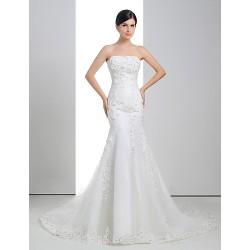 Trumpet Mermaid Wedding Dress White Court Train Strapless Lace Organza Charmeuse