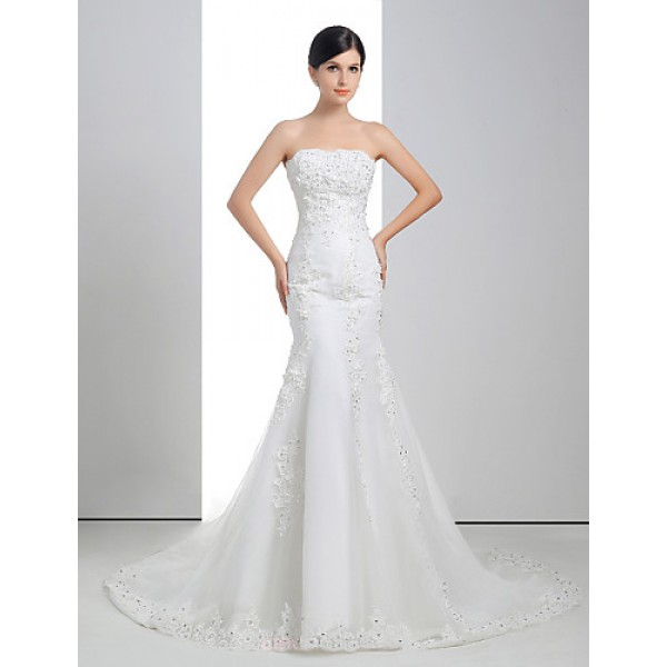 Trumpet/Mermaid Wedding Dress - White Court Train Strapless Lace/Organza/Charmeuse Wedding Dresses
