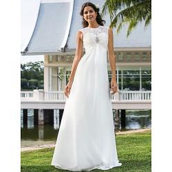 Sheath Column Plus Sizes Wedding Dress Ivory Floor Length Jewel Chiffon