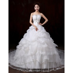 Ball Gown Wedding Dress White Court Train Strapless Lace