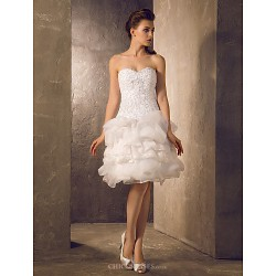 A Line Princess Plus Sizes Wedding Dress Ivory Knee Length Sweetheart Lace Organza