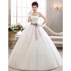Ball Gown Floor Length Wedding Dress Strapless Tulle