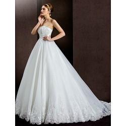 A-line Wedding Dress - Ivory Court Train Strapless Lace/Organza/Satin