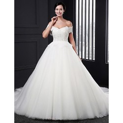 Ball Gown Wedding Dress White Court Train Sweetheart Tulle