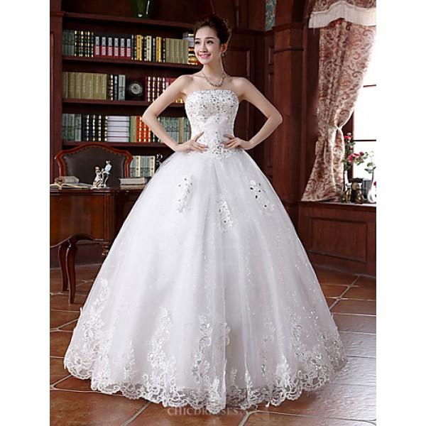 Princess Wedding Dress - Ivory Floor-length Strapless Tulle Wedding Dresses