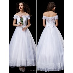 A Line Princess Wedding Dress White Ankle Length Off The Shoulder Lace Tulle