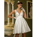 A-line Plus Sizes Wedding Dress - Ivory Short/Mini V-neck Stretch Satin Wedding Dresses