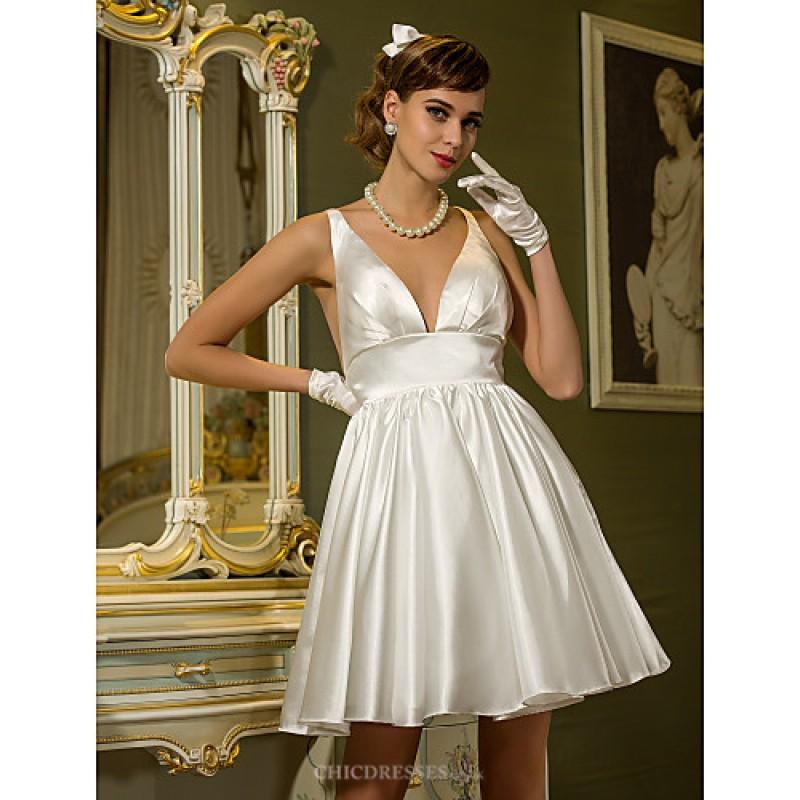 A Line Plus Sizes Wedding Dress Ivory Short Mini V Neck