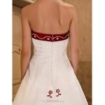 A-line / Princess Petite / Plus Sizes Wedding Dress - Ivory Chapel Train Strapless Organza / Satin Wedding Dresses
