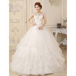 Ball Gown Floor-length Wedding Dress -Jewel Organza