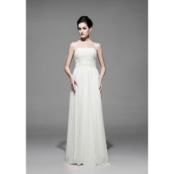Sheath/Column Floor-length Wedding Dress -Strapless Chiffon
