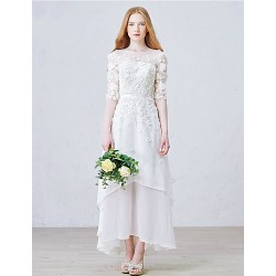 A-line Ankle-length Wedding Dress - Jewel Chiffon