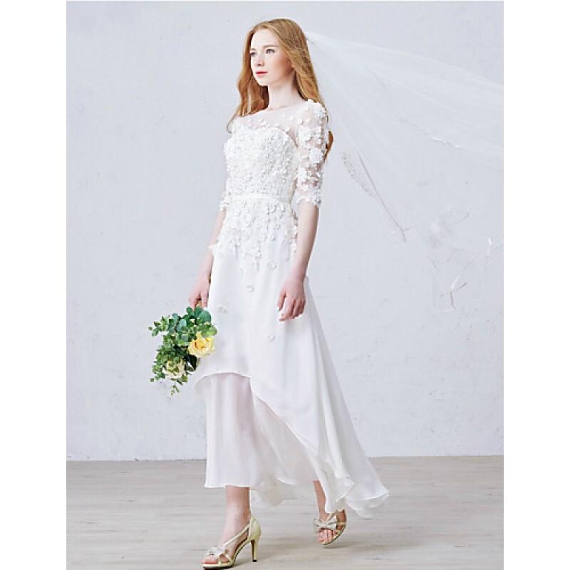 A-line Ankle-length Wedding Dress