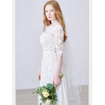 A-line Ankle-length Wedding Dress - Jewel Chiffon Wedding Dresses